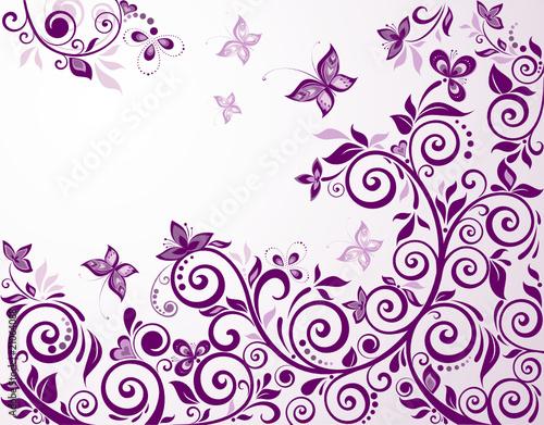 Printed kitchen splashbacks Butterflies in Grunge Vintage floral violet card