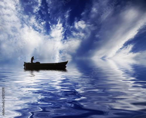 cielo en el agua Fototapet