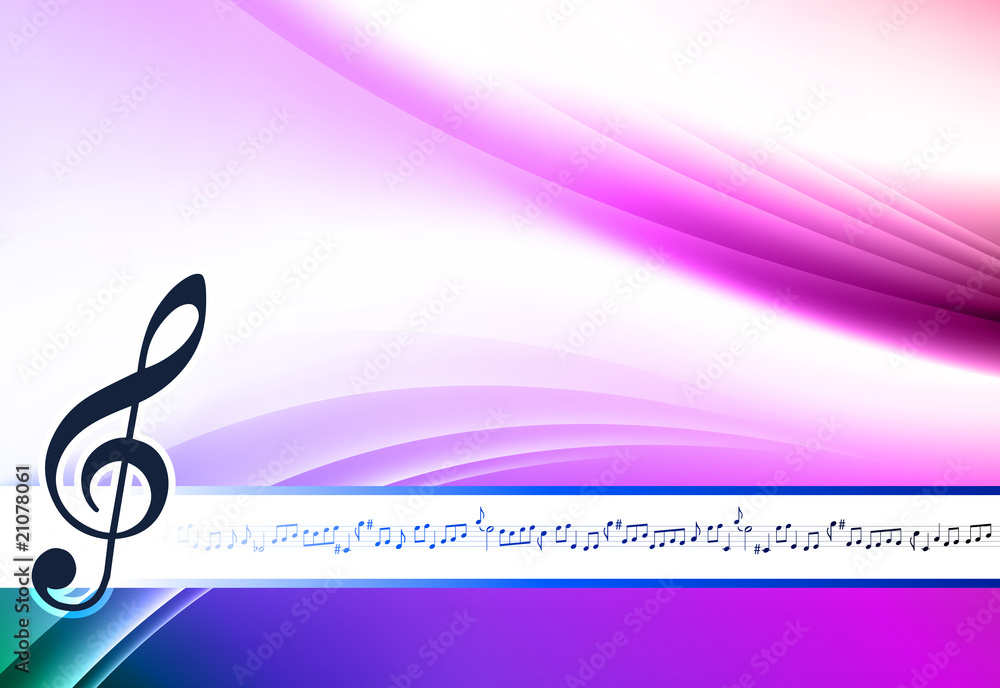 Musical Note On Abstract Color Background Foto Poster