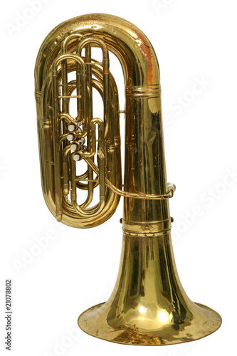 Wind musical instrument tuba on a white background Wallpaper Mural