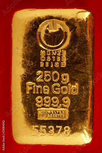 Poster  250 g Goldbarren