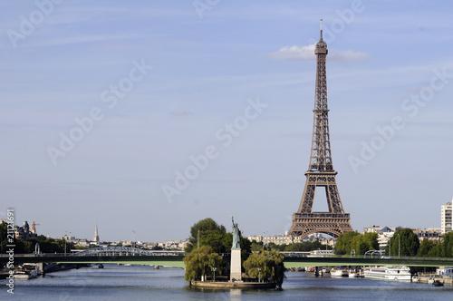 Fototapety, obrazy: Tour Eiffel et statue de la Liberté