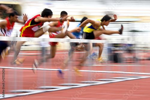 Fototapeta Men's 110 Meters Hurdles Action (Blurred) obraz
