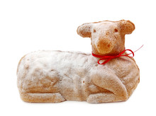 Easter Lamb Cake Isolated On W...