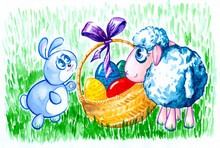 Bunny And Sheep With Easter Eg...