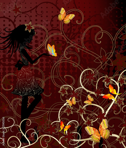 Recess Fitting Floral woman girl with butterflies