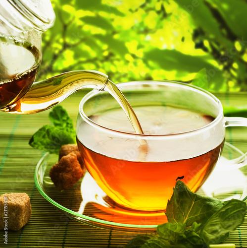 Plissee mit Motiv - Pouring Healthy Tea