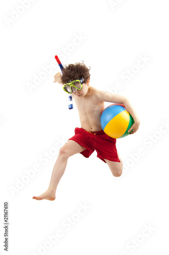 Photo  Boy ready to swim and dive isolated on white background
