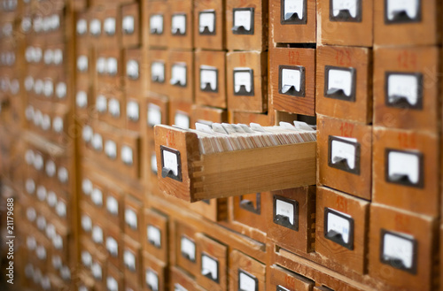 Poster Bibliotheque Old wooden card catalogue with one opened drawer