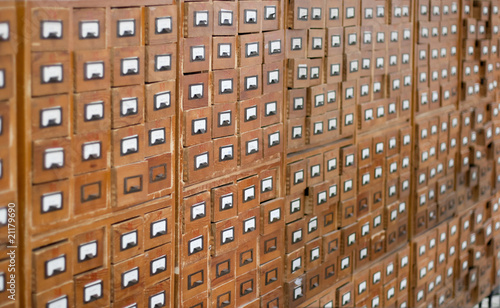 Poster Bibliotheque Old wooden card catalogue