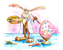 Easter Bunny Painting Egg-wate...