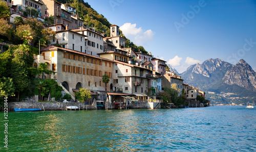 Poster Kaki Lugano lake in Switzerland