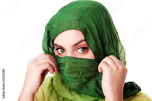 Face with green eyes and scarf Canvas Print