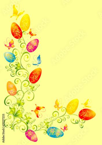 Poster Vogels, bijen easter background, easter eggs with floral ornament
