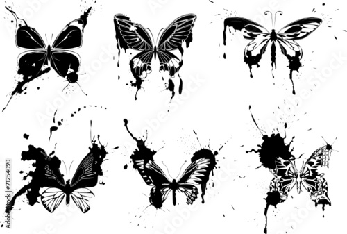 Fotobehang Vlinders in Grunge set of grunge monochrome butterflies