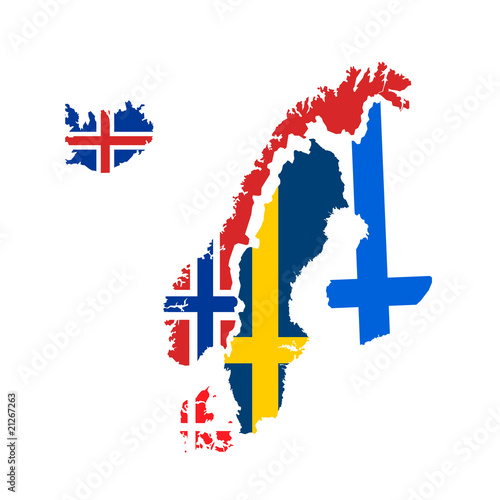 scandinavia flags and maps vector Fototapet