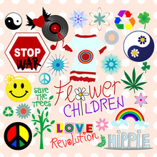 Collection Of Hippie Design Elements