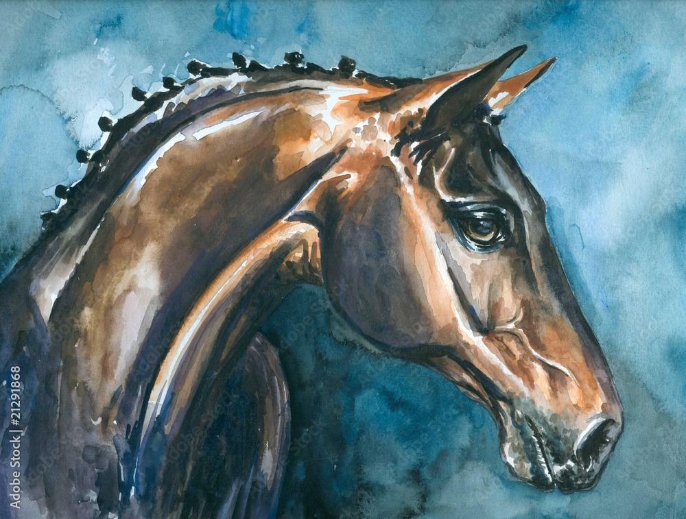 Koń, akwarela - moja własna praca plastyczna. <span>plik: #21291868 | autor: dannywilde</span>