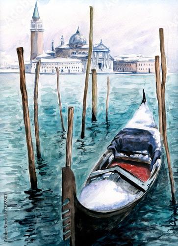 gondola-w-zimie-woda-moja-wlasna-grafika