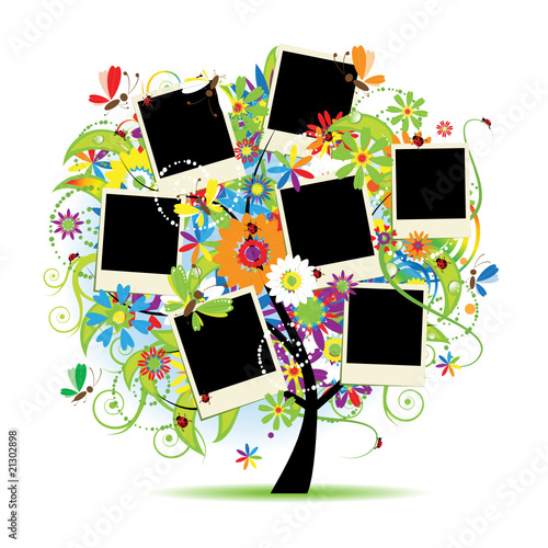 In de dag Regenboog Family album. Floral tree with frames for your photos.
