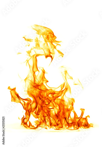 Montage in der Fensternische Flamme Fire flame isolated on white backgound..