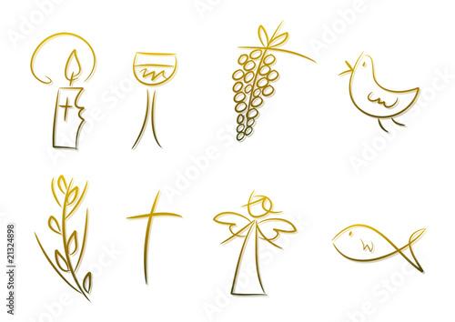 Goldene Symbole für Religion, Feste, Feiertage, ... Poster