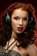 Leinwandbild Motiv Beautiful women with a headset