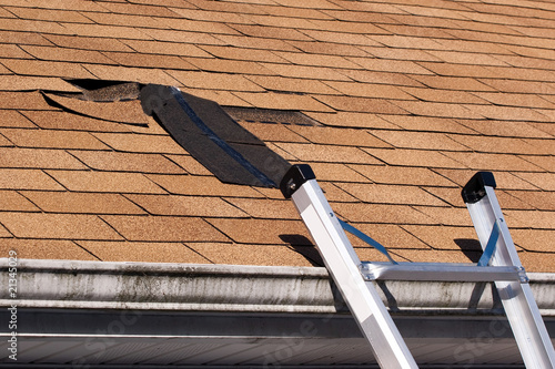 Fotografie, Obraz  Damaged Roof Shingles Repair