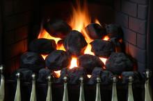 Domestic Home Gas Fireplace Imitating An Open Coal Fireplace