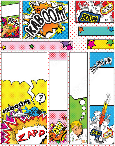 Photo  Set of Cartoon Pop Art Style Banners in Standard Sizes