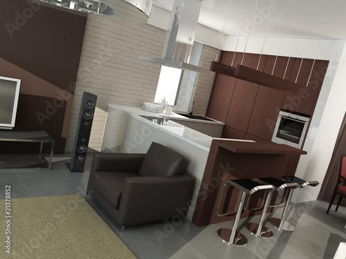 Papiers peints Retro modern interior design (privat apartment 3d rendering)
