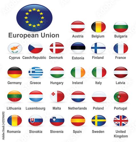 The European Union countries flags Canvas Print