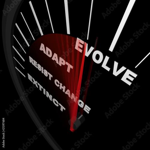Fotografia, Obraz  Evolve - Speedometer Tracks Progress of Change