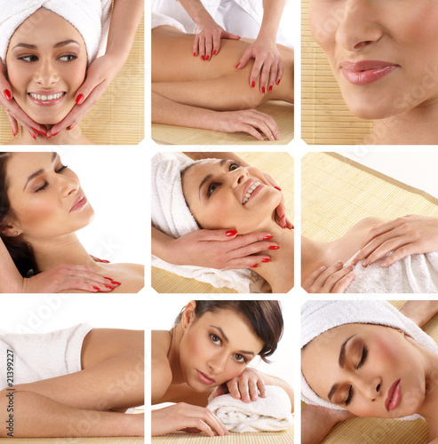 Collage of different spa treatment images with a lovely woman #21399227