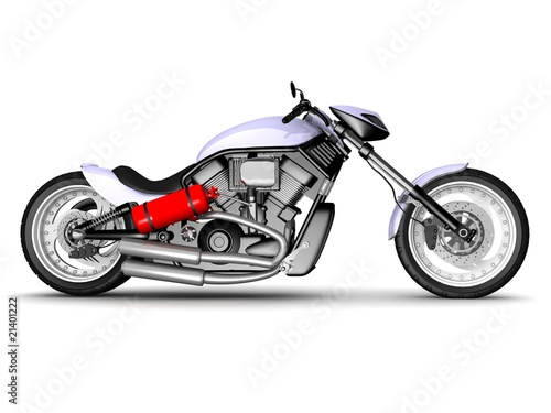 Foto op Canvas Motorfiets modern motorcycle isolated on white background