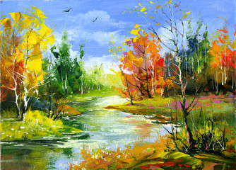 Plakat Autumn landscape with the wood river