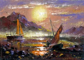 Fototapeta Morze Sea landscape with sailing vessels