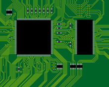 Green Circuit Board Vector Illustration. Abstract Technology Bac