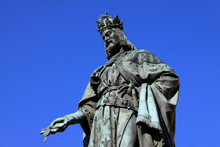 Bronze Statue Of The King Of Czech Charles IV. In Prague