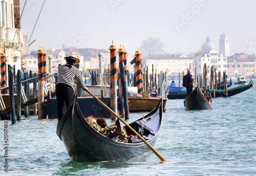 Spoed Fotobehang Gondolas Gondola towards San Marco, Venice