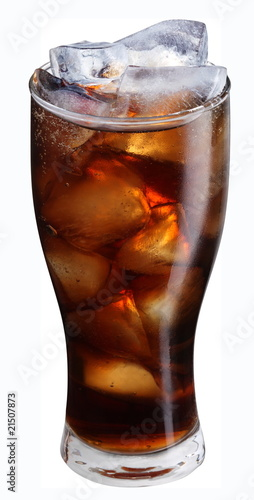 Valokuva  Glass of cola with ice cubes