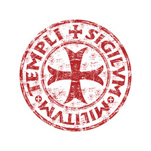 Red Grunge Rubber Templar Stamp