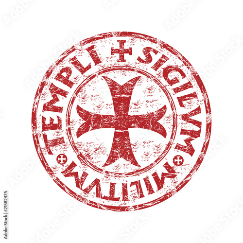 Photo  Red grunge rubber templar stamp