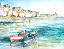 Boats In Bay Watercolor Painted