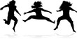Jumping girls silhouette - vector work