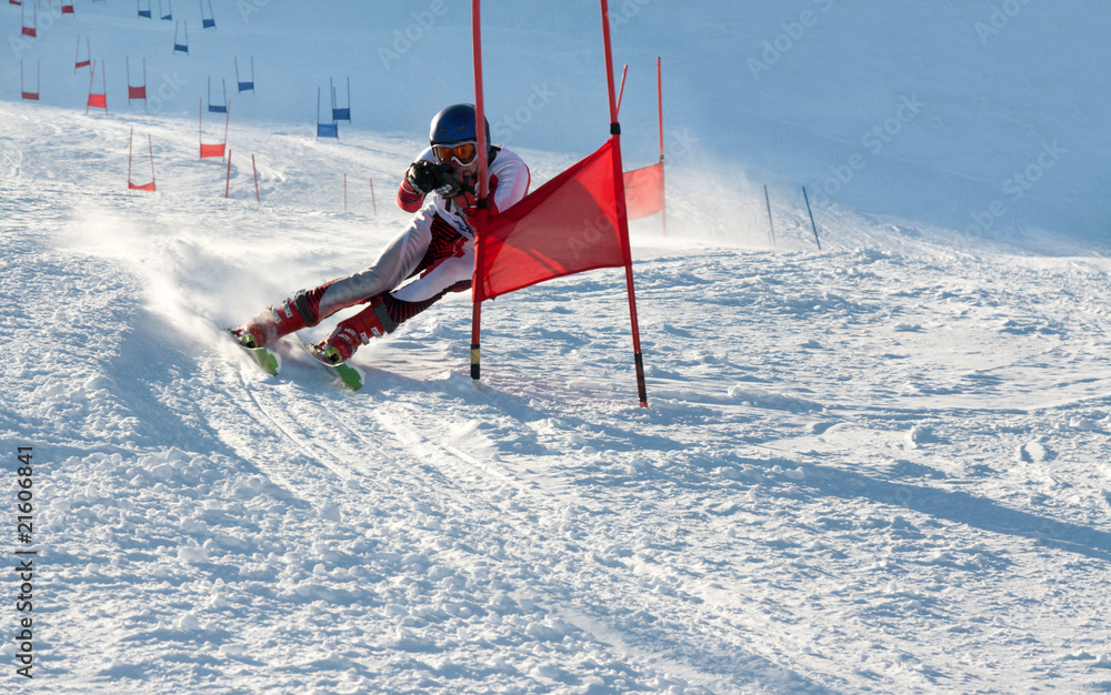Foto-Stoff bedruckt - Competitions on mountain ski