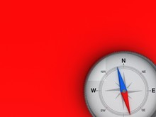 Compass On The Red Background