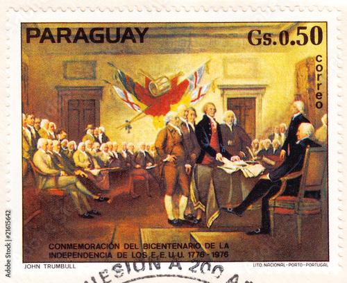 stamp shows American revolution Fototapet