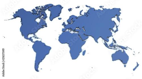 Foto op Canvas Wereldkaart Weltkarte - detailliert