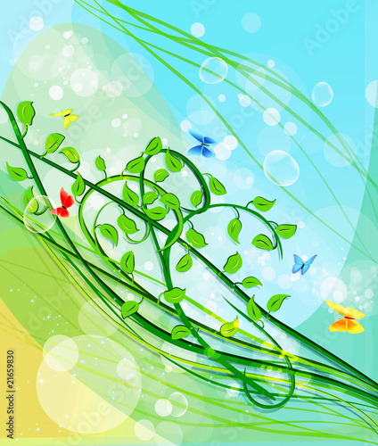 Beautiful green leaf background, vector illustration